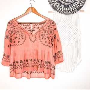 Free People Embroidered Sheer Brown Peplum Blouse